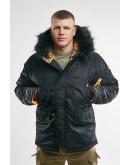 Куртка Аляска Husky SHORT Black / Orange (опушка Black FUR)